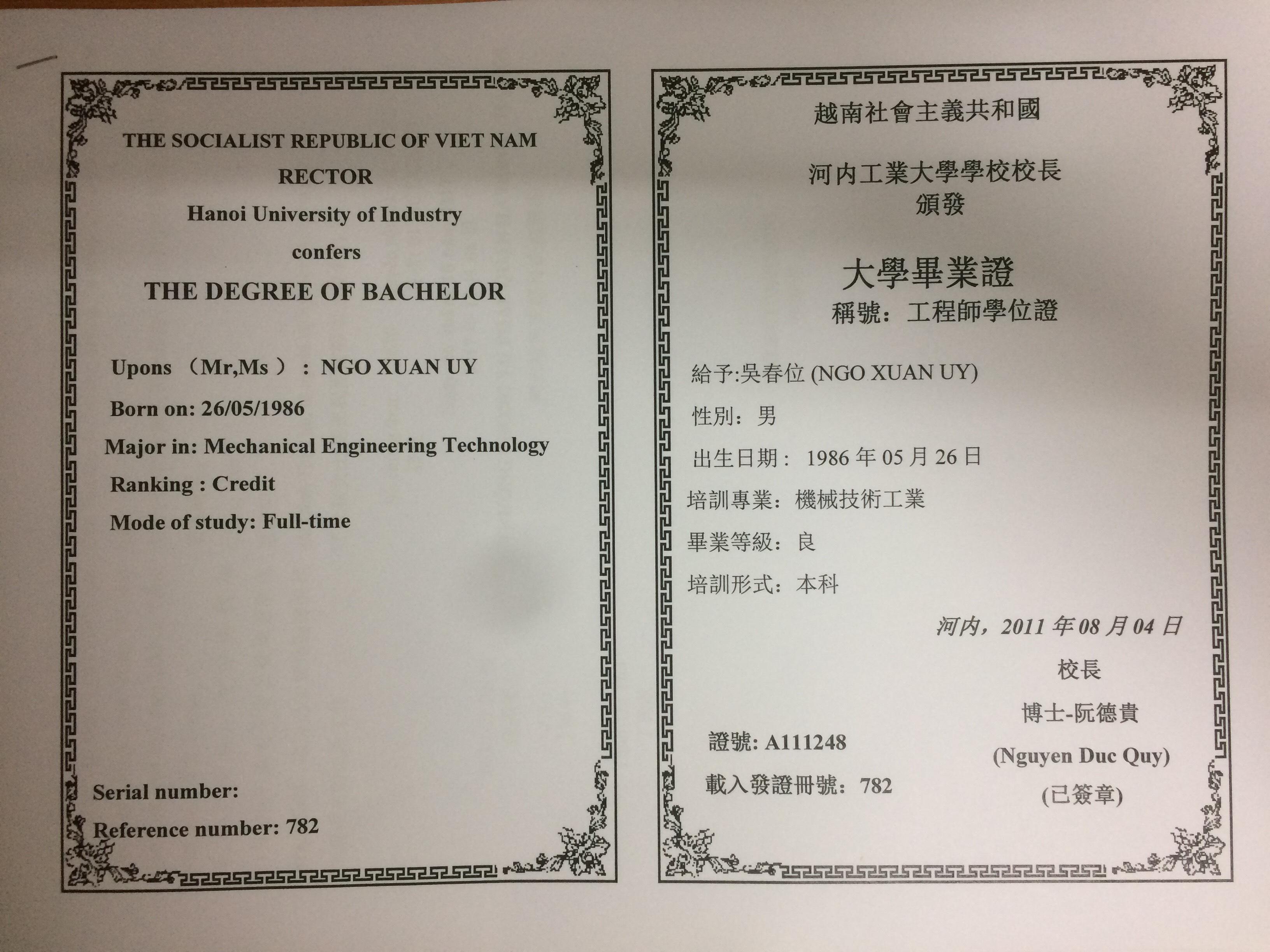 dịch thuật công chứng tiếng Trung các giấy tờ cá nhân chính xác